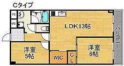 パシフィック帝塚山西[4階]の間取り