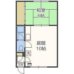 コーポ佐々木[1階]の間取り