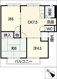 キャロットフジイB棟[2階]の間取り