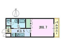 カモミール喜光[101号室]の間取り