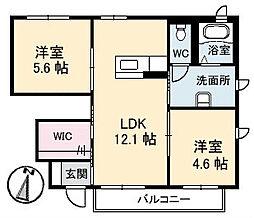 山口県下関市綾羅木本町2丁目の賃貸アパートの間取り