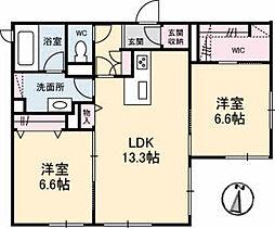 レジデンス・ベアーズクラブ江波 A棟 1階2LDKの間取り