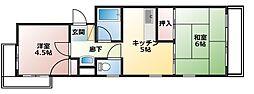 メゾン福嶋[3-F号室]の間取り