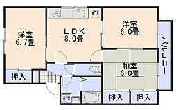 ファミールカワテ B棟[2階]の間取り