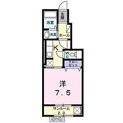 富山県富山市茶屋町字中ノ間の賃貸アパートの間取り