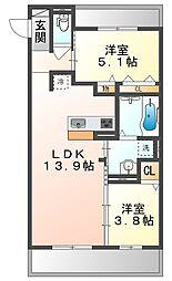 JR山陽本線 高島駅 徒歩13分の賃貸アパート 2階2LDKの間取り
