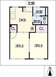 ナコーシュ平芝'92[1階]の間取り