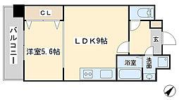竪町センタービル[906号室]の間取り