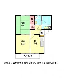 愛知県岩倉市神野町平久田の賃貸アパートの間取り