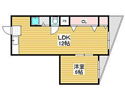 第1三国ヶ丘コーポ[3階]の間取り