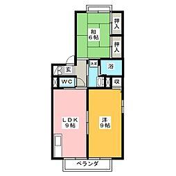 レーベン板野 B 棟[2階]の間取り