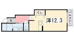 兵庫県姫路市北条梅原町の賃貸アパートの間取り
