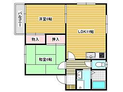 兵庫県姫路市四郷町山脇の賃貸アパートの間取り