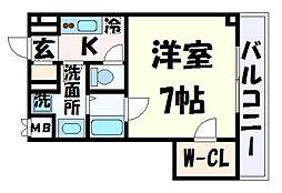 シュマンセプト神戸 2階1Kの間取り