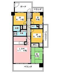 アーバンシティ東静岡[4階]の間取り