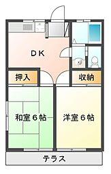 川口コーポ[1階]の間取り