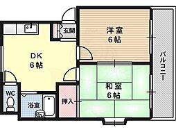 マンションハシモト 3階2DKの間取り