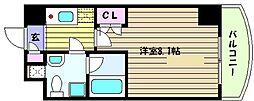 阪神本線 岩屋駅 徒歩5分の賃貸マンション 4階1Kの間取り