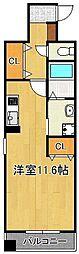 プレジール 4階ワンルームの間取り