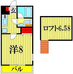 埼玉県越谷市大字大林の賃貸アパートの間取り
