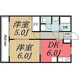 JR総武本線 四街道駅 徒歩21分の賃貸アパート 2階2DKの間取り