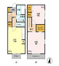 東京都練馬区西大泉5丁目の賃貸アパートの間取り