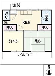 三品マンション 2階[2階]の間取り