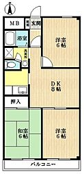 三角ロイヤルハイツ[1階]の間取り