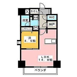 パークアクシス新栄 3階1LDKの間取り