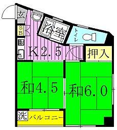 第2塚田マンション 2階2Kの間取り
