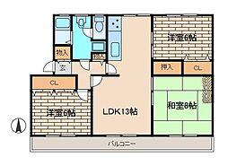 鶴川2丁目住宅11-7[201号室]の間取り