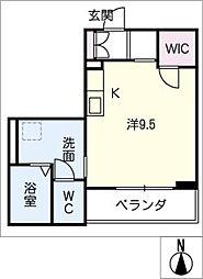 アミコートノリタケ 2階ワンルームの間取り