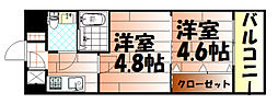 No.47 PROJECT2100小倉駅[705号室]の間取り