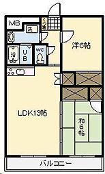 ピーチフローレ1[205号室]の間取り
