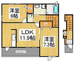 コンフリエ下里2[2階]の間取り