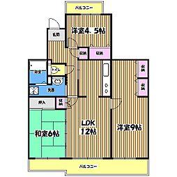 コーポレート小金井梶野町通り7号棟[4階]の間取り
