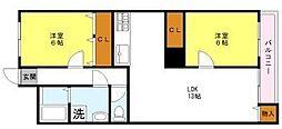 双輪5号館[2階]の間取り