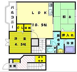 福岡県古賀市花見東1の賃貸アパートの間取り