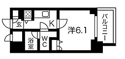 Osaka Metro堺筋線 堺筋本町駅 徒歩3分の賃貸マンション 6階1Kの間取り