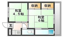 岡山県岡山市南区福富西2丁目の賃貸マンションの間取り