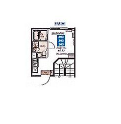 都営浅草線 中延駅 徒歩6分の賃貸マンション 3階ワンルームの間取り