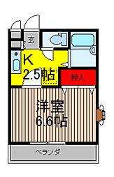 埼玉県川口市末広3-の賃貸アパートの間取り