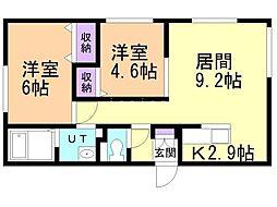 エル澄川 2階2LDKの間取り