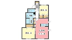 兵庫県姫路市川西台の賃貸アパートの間取り