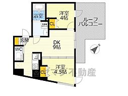 NOZOMIO OHIMACHI TERRACE 5階2DKの間取り