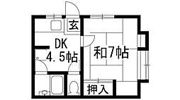 兵庫県宝塚市梅野町の賃貸アパートの間取り