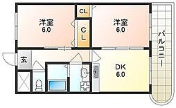 大阪府大阪市平野区長吉出戸4丁目の賃貸マンションの間取り