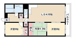 愛知県名古屋市瑞穂区彌富町字円山 の賃貸マンションの間取り