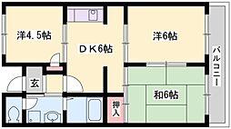 兵庫県加古川市神野町西条の賃貸マンションの間取り
