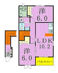 埼玉県三郷市栄1丁目の賃貸アパートの間取り